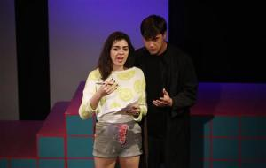 "Cast members Barrett Wilbert Weed and Ryan McCartan perform during the rehearsals for ""Heathers the Musical"" at the Hudson theatre in Los Angeles, California"
