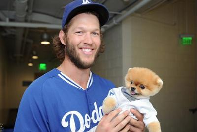 The Dodgers are hanging out with a world record breaking dog for some reason