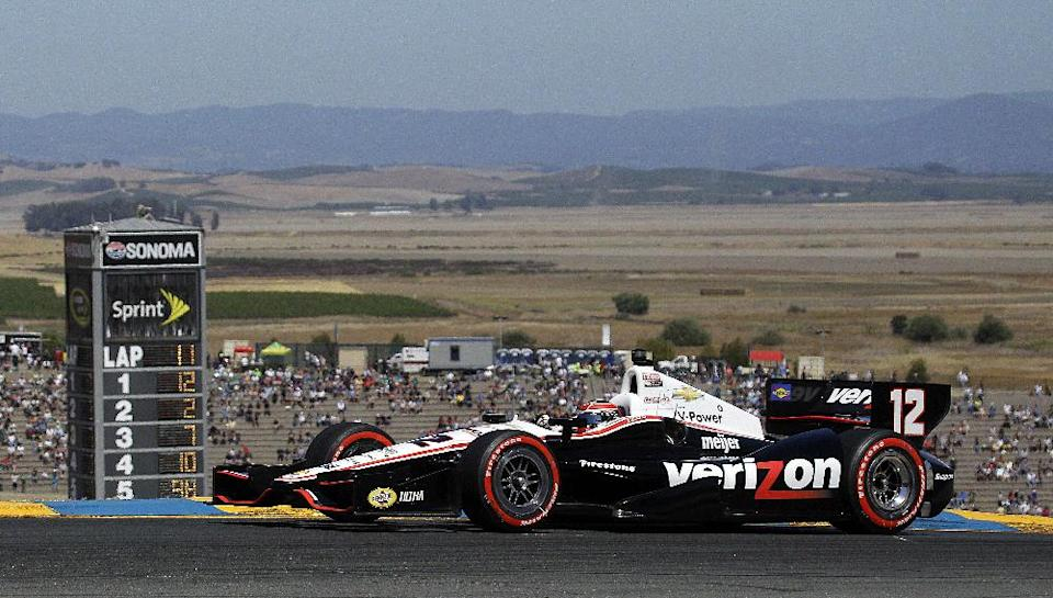 Will Power, of Australia, races during the IndyCar Series auto race on Sunday, Aug. 26, 2012, in Sonoma, Calif. (AP Photo/Ben Margot)