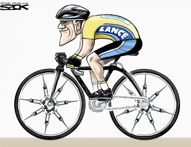 An editorial cartoon depicting Lance Armstrong is seen in a handout