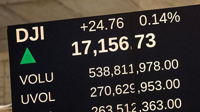 A reader board shows the Dow Jones Industrial Average at an all time high on the floor of the New York Stock Exchange on September 17, 2014