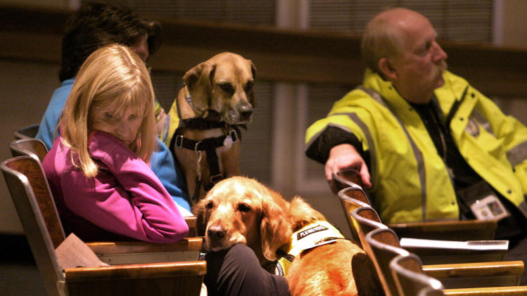 Glen Hoffman of Extra Mile Ministries with K9 crisis comfort dog Beau, listen during a community meeting at Newtown High school on the future of Sandy Hook Elementary School in Newtown, Conn., Sunday, Jan. 13, 2013. Talk about Sandy Hook Elementary School is turning from last month's massacre to the future, with differing opinions on whether students and staff should ever return to the building where a gunman killed 20 students and six educators. Standing at right is Francis Pennorla, moderator. (AP Photo/Michelle McLoughlin, Pool)