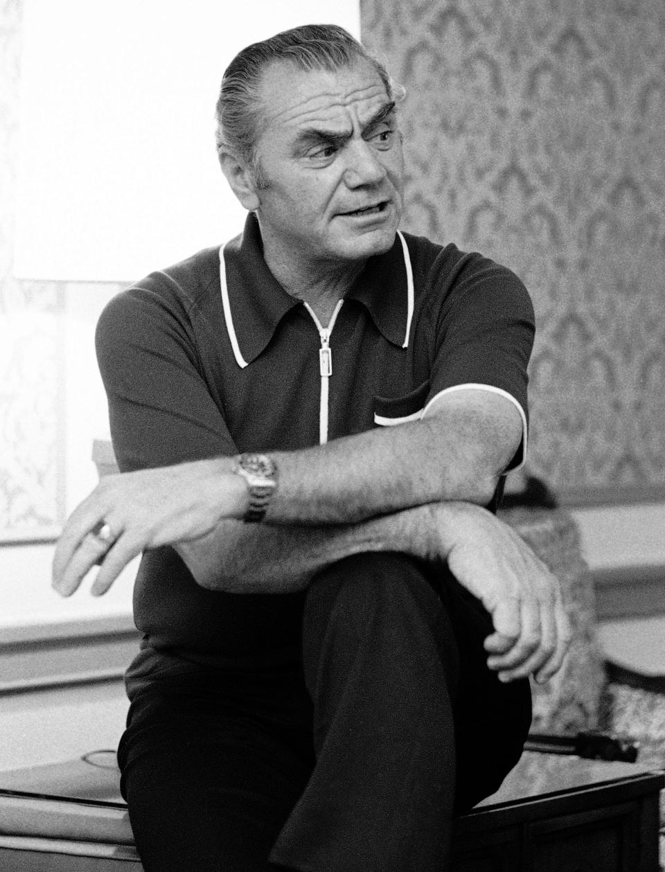 FILE - This June 1, 1973, file photo, shows Ernest Borgnine in New York. A spokesman said Sunday, July 8, 2012, that Borgnine has died at the age of 95. (AP Photo/Jerry Mosey, File)