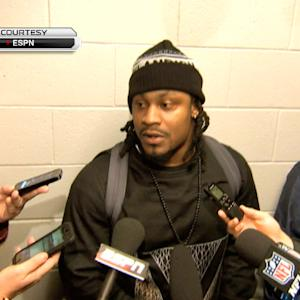 Seattle Sehawks running back Marshawn Lynch answers reporters with a simple statement