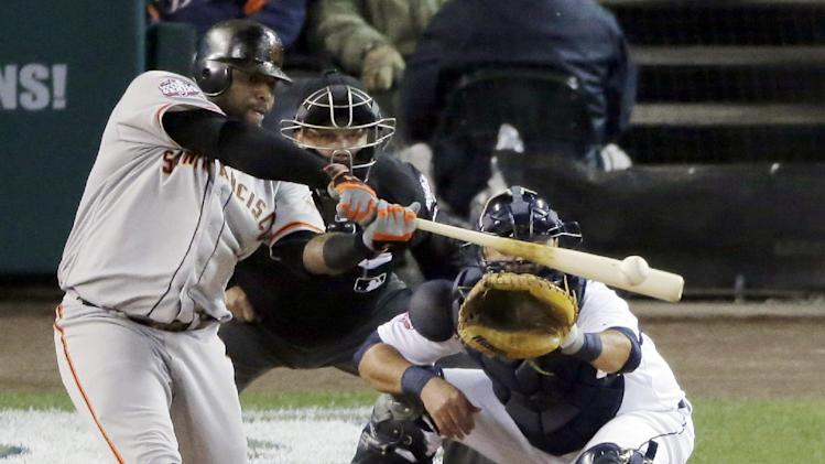 San Francisco Giants third baseman Pablo Sandoval hits a single during the third inning of Game 4 of baseball's World Series Sunday, Oct. 28, 2012, in Detroit. (AP Photo/Charlie Riedel)