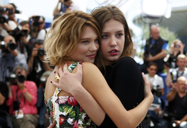 "Cast members Lea Seydoux and Adele Exarchopoulos pose during a photocall for the film ""La Vie D'Adele"" at the 66th Cannes Film Festival"