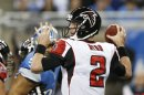 Atlanta Falcons quarterback Matt Ryan looks to throw during the first quarter of an NFL football game against the Detroit Lions at Ford Field in Detroit, Saturday, Dec. 22, 2012. (AP Photo/Carlos Osorio)