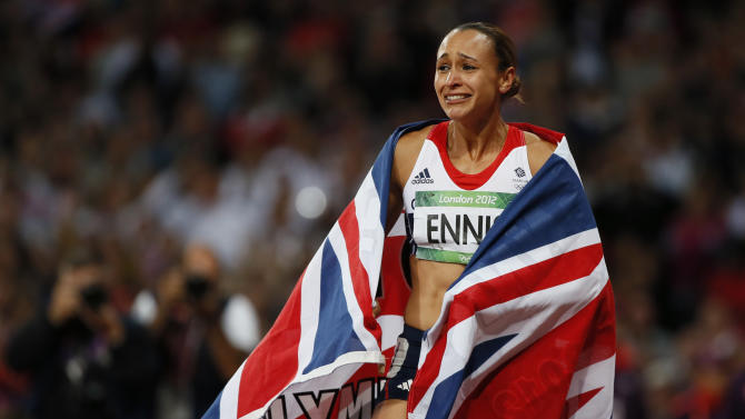 Britain's Jessica Ennis celebrates winning her women's heptathlon 800m heat at the London 2012 Olympic Games at the Olympic Stadium