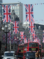 British Union Jack flags hang along London's Regent Street