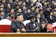 Kim Jong-Un (front left) and Dennis Rodman, seen together at a basketball game in Pyongyang on February 28, 2013. Flamboyant former NBA star Rodman has lauded N.Kore&#39;as new leader as an &quot;awesome kid&quot; following their unprecedented meeting in Pyongyang