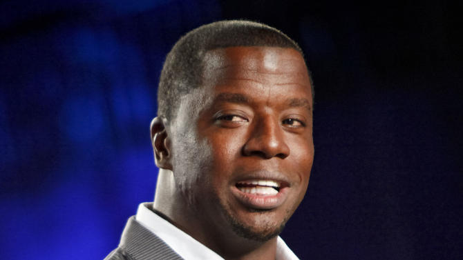 """This Aug. 23, 2012 file photo originally released by the NFL shows former NFL quarterback Kordell Stewart during the DirecTV NFL Fantasy Week at the Best Buy theatre in New York. Stewart has filed for divorce from his reality television star wife. In a divorce petition filed Friday in Fulton County Superior Court in Atlanta, Stewart says his marriage to Porsha Williams is """"irretrievably broken"""" and the two are separated. The pair appears on Bravo's """"The Real Housewives of Atlanta."""" The filing says the two married on May 21, 2011, and have no children together. (AP Photo/NFL, Brian Ach)"""