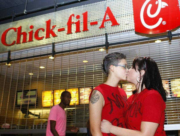 kiss in chick fil a