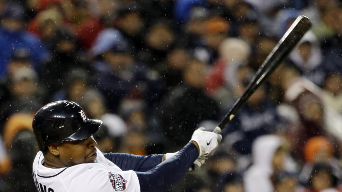 Detroit Tigers' Delmon Young hits a home run during the sixth inning of Game 4 of baseball's World Series against the San Francisco Giants Sunday, Oct. 28, 2012, in Detroit. (AP Photo/David J. Phillip)