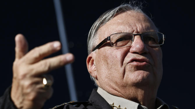 FILE - In this Jan. 9, 2013 file photo, Maricopa County Sheriff Joe Arpaio speaks with the media in Phoenix. Organizers of the effort to recall Arpaio face long odds in turning in the more than 335,000 valid voter signatures required by the 5 p.m., Thursday, May 30, 2013, deadline. They have struggled to raise funds, have had to rely mainly on volunteers to collect signatures and are mounting a campaign against a politician who has a base of devoted supporters. (AP Photo/Ross D. Franklin, File)