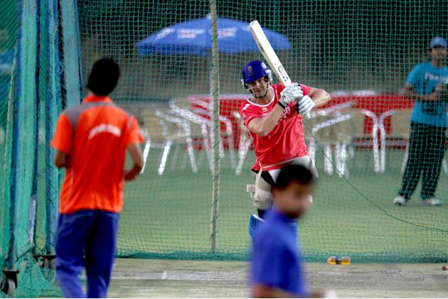 Rajasthan Royals' Shane Watson during a net session at Sawai Mansingh Stadium in Jaipur on Sunday_2