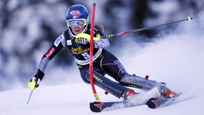 Mikaela Shiffrin from the United States speeds down the course during the women's slalom for the finals of the Alpine skiing World Cup in Lenzerheide, Switzerland, Saturday, March 16, 2013.(AP Photo/Shinichiro Tanaka)