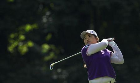 Park In-bee of South Korea hits off the ninth fairway at LPGA Canadian Women's Open golf tournament in Coquitlam