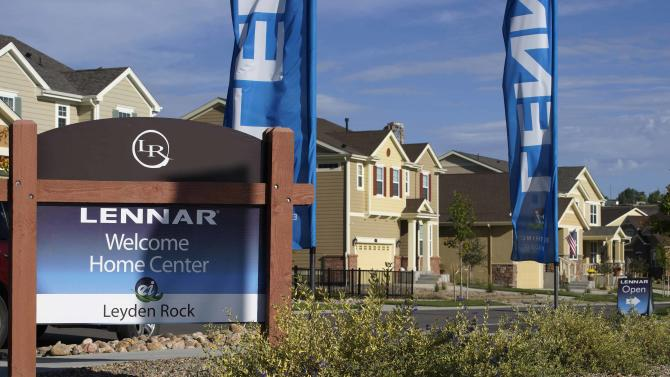 Lennar model homes are seen at a development in Arvada