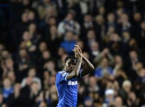 Chelsea's Eto'o acknowledges crowd as he is substituted during their Champions League soccer match against FC Schalke 04 at Stamford Bridge in London