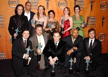 "Top: Ben Foster, Peter Macdissi, Frances Controy, Justina Machado, Lauren Ambrose, Rachel Griffiths Bottom: Freddy Rodriguez, Rainn Wilson, Michael C. Hall, Mathew St. Patrick, Peter Krause of ""Six Fe"