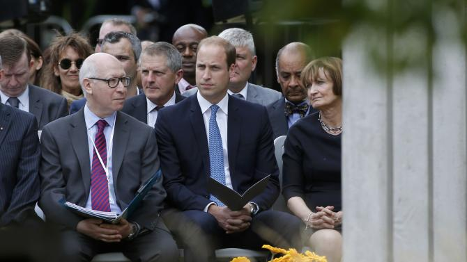 Britain's Prince William listens during a memorial event to victims of the July 7, 2005 London bombings