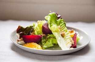 Red Leaf Salad with Roasted Beets, Oranges, and Walnuts