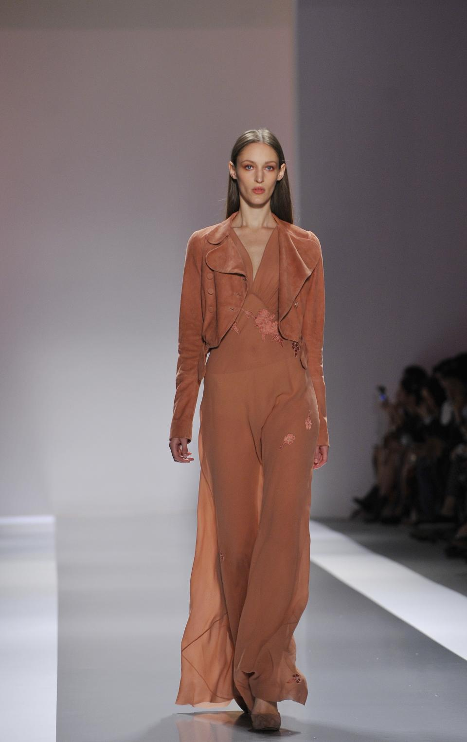 The Jill Stuart Spring 2013 collection is modeled during Fashion Week in New York, Saturday Sept 8, 2012. (AP Photo/Stephen Chernin)