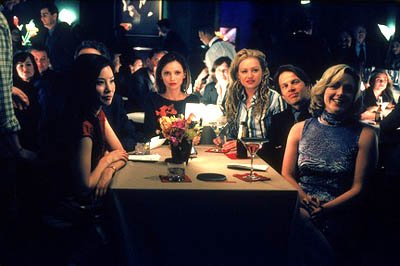 "L-R: Ling (Lucy Liu), Ally (Calista Flockhart), Nelle (Portia de Rossi), Mark (James LeGros) and Elaine (Jane Krakowski) watch as Renee and Jackson perform a duet on the Ally McBeal episode ""Falling U"