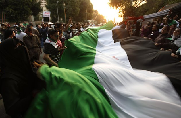 Protesters wave a big syrian flag during their anti-Syrian regime protest in front of the Arab league headquarters in Cairo, Egypt Wednesday, Nov. 2, 2011. Over 100 people protested outside the Arab League's Cairo headquarters where foreign ministers met Wednesday, waving the tri-colored Syrian flag and chanting slogans against Assad. (AP Photo/Khalil Hamra)