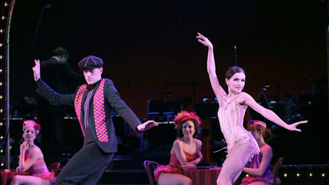 "This undated theater image released by Helene Davis Public Relations shows Shonn Wiley, left, and Irina Dvorovenko during a performance of ""On Your Toes,""  at New York City Center in New York. (AP Photo/Helene Davis Public Relations, Joan Marcus)"