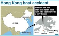 The area in Hong Kong where a pleasure boat sank after a collision with a ferry