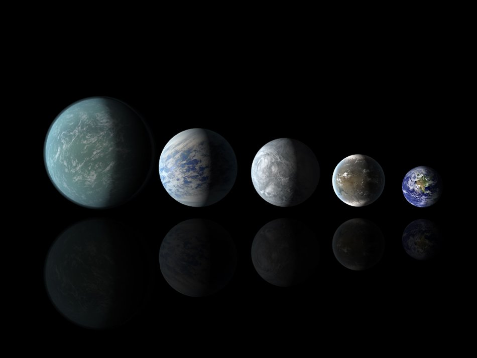 Artist's rendition of relative sizes of Kepler habitable zone planets discovered