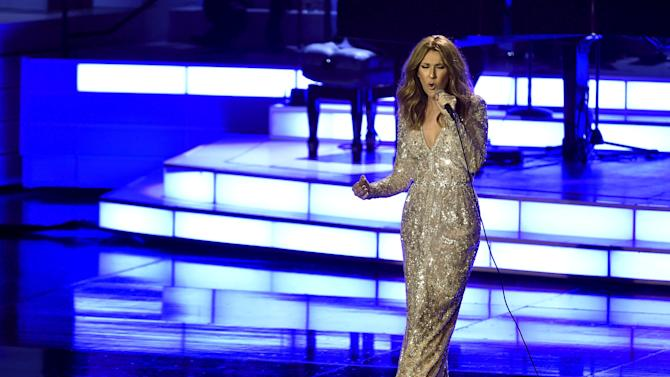 Canadian singer Celine Dion performs at The Colosseum at Caesars Palace in Las Vegas, Nevada