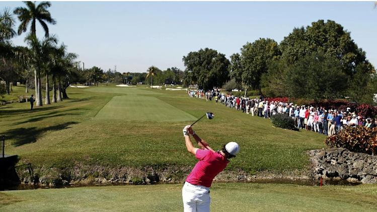 Rory McIlroy, of Northern Ireland, hits off the second tee during the first round of the Cadillac Championship golf tournament, Thursday, March 7, 2013, in Doral, Fla. (AP Photo/Wilfredo Lee)
