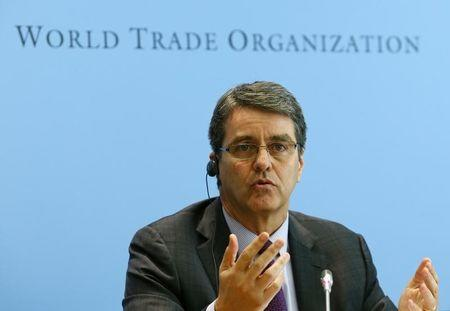 WTO Director-General Azevedo gestures during a news conference on world trade in 2013 and prospect for 2014 in Geneva
