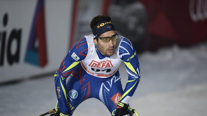Biathlon World Cup and Olympic champion Martin Fourcade of France reacts after his performance in the men's free Cross Country 10km competiton at the FIS World Cup Ruka Nordic 2015 event in Kuusamo