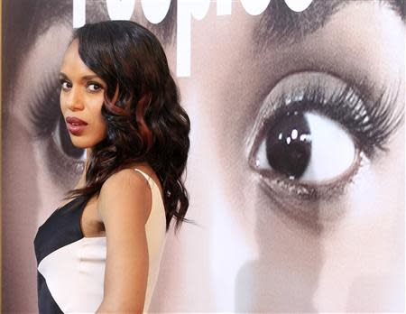"File photo of actress Kerry Washington, one of the stars of the new film ""Peeples"", arriving at the film's premiere in Hollywood"