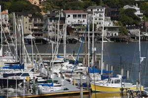 Sailboats are seen docked at the San Francisco Yacht Club in Belvedere, California