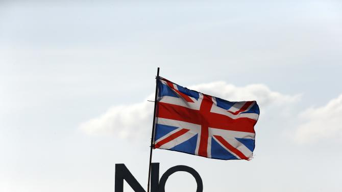 "File photo of a ""No"" campaign placard and Union flag seen outside a cottage on the Isle of North Uist, in the Outer Hebrides of Scotland"