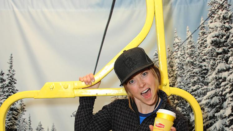 IMAGE DISTRIBUTED FOR LIPTON: Skier Kaylin Richardson races to the top of the indoor ski lift at the Lipton Uplift Lounge during Sundance on Sunday Jan. 20, 2013, in Park City, UT. (Photo by Jordan Strauss/Invision for Lipton/AP Images)