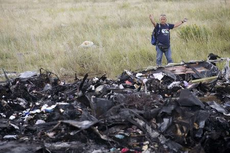 A Malaysian air crash investigator inspects the crash site of Malaysia Airlines Flight MH17, near the village of Hrabove