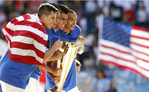 Team U.S. celebrates their win over Panama in the CONCACAF Gold Cup soccer final in Chicago, Illinois