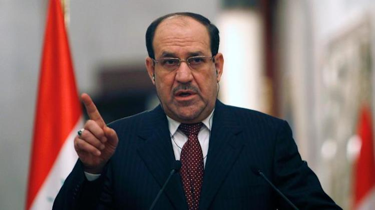 Iraqi Prime Minister Nuri al-Maliki gives a press conference in Baghdad on January 13, 2014