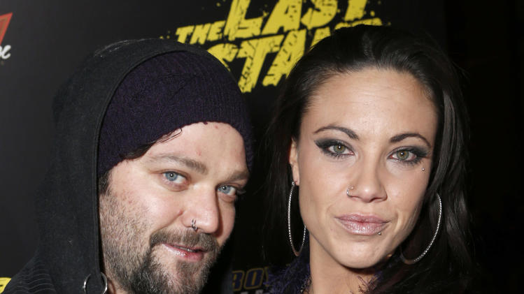 "Bam Margera and Nicole Boyd attend the LA premiere of ""The Last Stand"" at Grauman's Chinese Theatre on Monday, Jan. 14, 2013, in Los Angeles. (Photo by Todd Williamson/Invision/AP)"