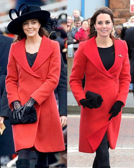 Kate Middleton Conceals Baby Bump in Red Coat Recycled From 2006: Picture