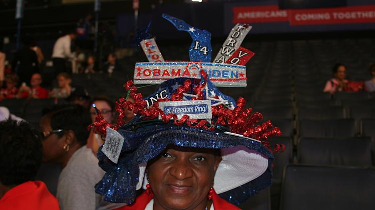 Lavon Bracy, a delegate from Orlando, Fla. wears an intricate hat representing her state on the floor of the Democratic National Convention on Thursday Sept. 6, 2012. (Torrey AndersonSchoepe/Yahoo! News)