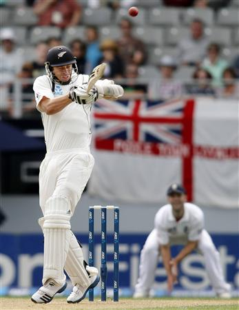 Tim Southee of New Zealand hits a six on day two of the final cricket test against England in Auckland