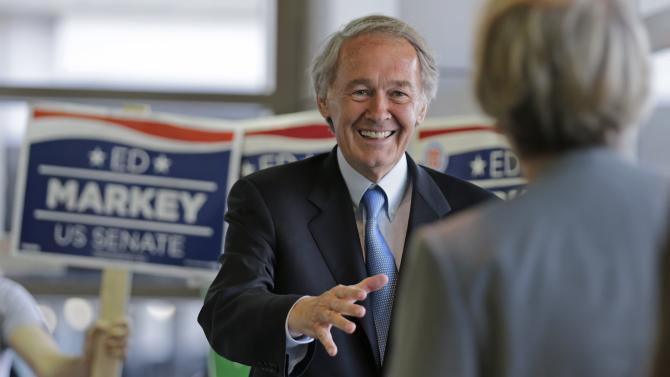 Democratic U.S. Senate hopeful, Mass. Rep. Edward Markey, D-Malden, smiles as he asks commuters for their vote while campaigning at North Station in Boston, Monday, April 29, 2013. Markey and U.S. Rep. Stephen Lynch, D-Boston, vying for their party's nomination in the special April 30, 2013 primary. (AP Photo/Charles Krupa)