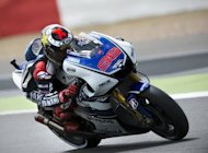 Spanish rider Jorge Lorenzo corners his Yamaha Factory GP bike during the MotoGP race at the British Grand Prix at Silverstone racetrack near Northampton. Lorenzo cruised to a comfortable win over defending world champion Casey Stoner in the British MotoGP, with Spaniards also clinching the Moto2 and Moto3 categories