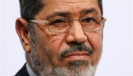 Egypt&#39;s President Mohamed Mursi gives a speech at the Koerber foundation for social challenge in Berlin January 30, 2013. REUTERS/Fabrizio Bensch/Files